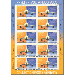 PA N°_65 AIRBUS A300 FEUILLE DE 10 TIMBRES LUXE