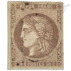 FRANCE N°47 TYPE CÉRÈS 30C BRUN, TIMBRE OBLITÉRÉ-1870