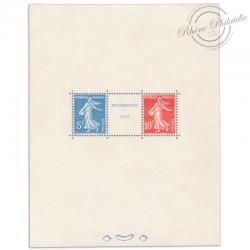 FRANCE BLOC N°2 EXPOSITION PHILATÉLIQUE STRASBOURG, TIMBRES SIGNÉS, NEUFS 1927