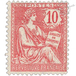 FRANCE N°124 TYPE MOUCHON 10 C ROSE, TIMBRE NEUF **1902