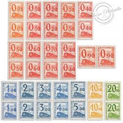 FRANCE COLIS POSTAUX N°31 A 47 SÉRIE DE 17 PAIRES DE TIMBRES NEUFS, 1960