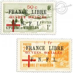 SAINT-PIERRE-ET-MIQUELON N°310 ET 311, TIMBRES NEUFS, 1941-42