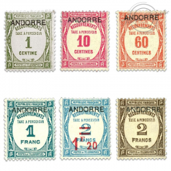 ANDORRE FRANÇAIS N°9 À 14  TIMBRES-TAXE, NEUFS**/*1931-32