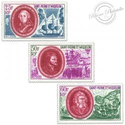 SAINT-PIERRE ET MIQUELON PA N°50 À 52, PERSONNAGES HISTORIQUES, TIMBRES NEUFS**LUXE-1970