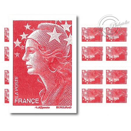 CARNET MARIANNE ROUGE DE BEAUJARD 20 TIMBRES