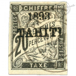 TAHITI TAXE N°21 SURCHARGÉ, TIMBRE OBLITÉRÉ, SIGNÉ BRUN-1893