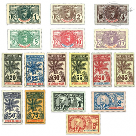 HAUT-SÉNÉGAL ET NIGER N°1 À 17, TIMBRES NEUFS*/OBL-1906