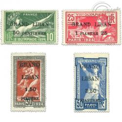 GRAND LIBAN N°18 À 21 JEUX OLYMPIQUES SURCHARGÉS, TIMBRES NEUFS*1924