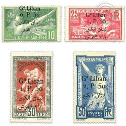 GRAND LIBAN N°45 À 48 JEUX OLYMPIQUES SURCHARGÉS, TIMBRES NEUFS*1924-25