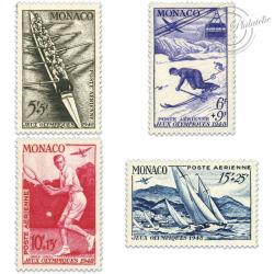 MONACO POSTE AÉRIENNE N°32 À 35 TIMBRES NEUFS-1948