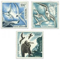 MONACO POSTE AÉRIENNE N°66 A 68, SÉRIE DES OISEAUX, TIMBRES NEUFS**/*1957