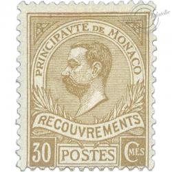 MONACO TIMBRE TAXE N°10 TYPE PRINCE ALBERT, TIMBRE NEUF* SIGNÉ BRUN-1910