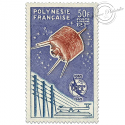POLYNÉSIE POSTE AÉRIENNE N°10, TIMBRE UNION INTERNATIONALE TÉLÉCOMMUNICATIONS-1965