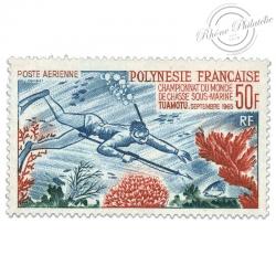 POLYNÉSIE POSTE AÉRIENNE N°14, TIMBRE CHAMPIONNAT CHASSE S-MARINE NEUF-1965