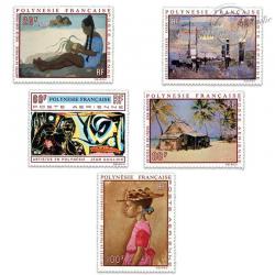 POLYNÉSIE POSTE AÉRIENNE N°40 À 44 TABLEAUX, ARTISTES LOCAUX, TIMBRES LUXE-1970