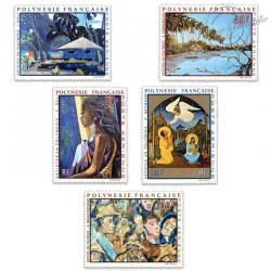 POLYNÉSIE POSTE AÉRIENNE N°55 A 59 SÉRIE (II) TABLEAUX 1972 ARTISTES LOCAUX, LUXE