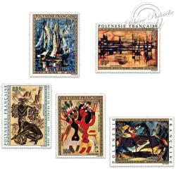 POLYNÉSIE POSTE AÉRIENNE N°65 À 69 SÉRIE TABLEAUX, ARTISTES LOCAUX, TIMBRES LUXE