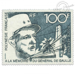 POLYNÉSIE POSTE AÉRIENNE N°70 PORTRAIT GÉNÉRAL DE GAULLE, TIMBRE LUXE**