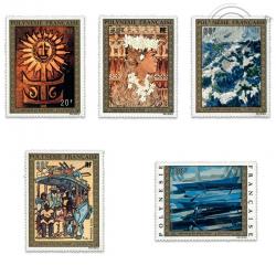 POLYNÉSIE POSTE AÉRIENNE N°77 A 81, TABLEAUX, ARTISTES LOCAUX, TIMBRES NEUFS**1973