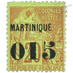 MARTINIQUE N°6 TYPE ALPHEE DUBOIS, TIMBRE NEUF* 1888-91