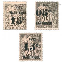 MARTINIQUE N°28 À 30 TIMBRES DES COLONIES FRANÇAISES NEUFS*1892