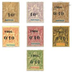 MARTINIQUE N°52 À 58 TIMBRES SURCHARGES NEUFS*1904