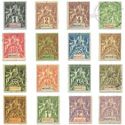 MOHELI N°1 À 16 TIMBRES POSTE TYPE SAGE, NEUFS*/OBLITÉRÉS 1906-1907