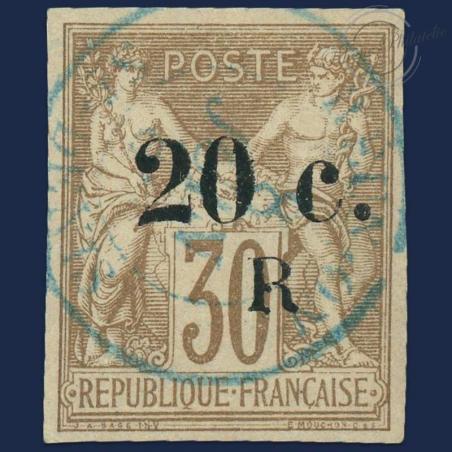RÉUNION N°10 TIMBRE SURCHARGÉ OBLITÉRÉ DE 1885-86