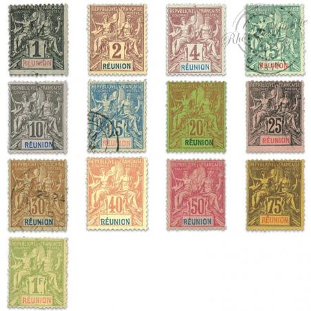 RÉUNION N°32 À 44, TIMBRES DES COLONIES FRANÇAISES NEUFS*/OBL-1892