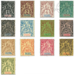 ANJOUAN N°1 À 13 TYPE SAGE , TIMBRES POSTE NEUFS*/OBL-1892-99