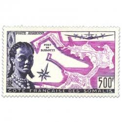 COTE DES SOMALIS AÉRIEN N°25 PORT DE DJIBOUTI NEUF**1956