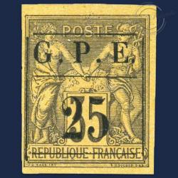 GUADELOUPE N°2 , TIMBRE NON DENTELÉ SANS GOMME-1884