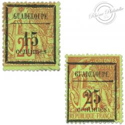 GUADELOUPE N°4 ET 5, TIMBRE DES COLONIES SANS GOMMES-1889