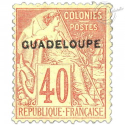 GUADELOUPE N°24, TIMBRE COLONIES FRANÇAISES NEUF*1891