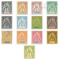 GUADELOUPE N°27 À 39 TIMBRES POSTE SÉRIE GROUPE ALLÉGORIQUE-1892