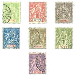 GUADELOUPE N°43 À 48 TIMBRES POSTE DES COLONIES FRANÇAISES TYPE SAGE-1900-03