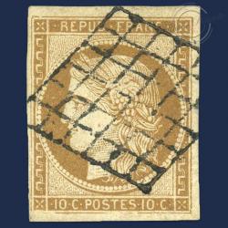 FRANCE N°1 TYPE CÉRÈS BISTRE-JAUNE, TIMBRE OBLITÉRÉ-TTB-1850