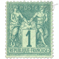 FRANCE N°61 TYPE SAGE 1C VERT, TIMBRE NEUF-1876