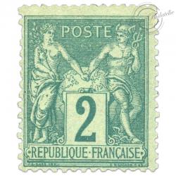 FRANCE N°74 TYPE SAGE 2C VERT, TIMBRE NEUF-1876