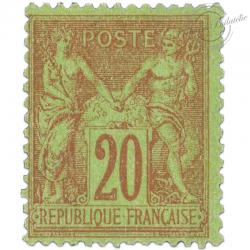 FRANCE N°96 TYPE SAGE 20C BRIQUE SUR VERT, TIMBRE NEUF-1884