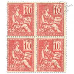 FRANCE N°112 TYPE MOUCHON, BLOC DE 4 TIMBRES NEUFS-1900-01