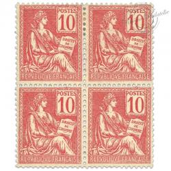 FRANCE N°116 TYPE MOUCHON, 10 C ROUGE, BLOC TIMBRES**/*1900-01