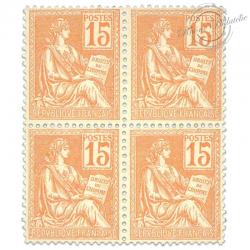 FRANCE N°117 TYPE MOUCHON ORANGE 15C, BLOC TIMBRES NEUFS**1900-1901