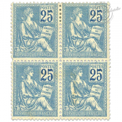 FRANCE N°114 TYPE MOUCHON 25C BLEU, BLOC TIMBRES NEUFS*1900-01