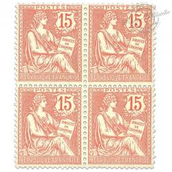 FRANCE N°125 TYPE MOUCHON RETOUCHÉ, BLOC TIMBRES NEUFS-1902