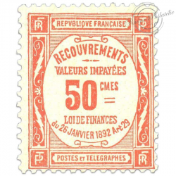 FRANCE TAXE N°47 50C ROUGE TIMBRE NEUF **1908-1925-RARE