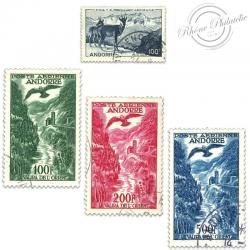 ANDORRE FRANÇAIS PA N°1 À 4 PAYSAGE, TIMBRES OBL-1950-57