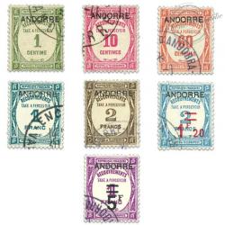 ANDORRE FRANÇAIS N°9 À 15 TIMBRES-TAXE OBL-1931-32