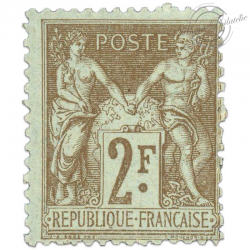 FRANCE N°105 TYPE SAGE 2F BISTRE SUR AZURE, TIMBRE NEUF-1900