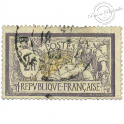 FRANCE N°122 TYPE MERSON 2F. VIOLET ET JAUNE, TIMBRE OBL-1900